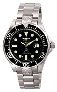 Invicta Men's Automatic Watch with Black Dial Analogue Display and Silver Stainless Steel Bracelet 3044