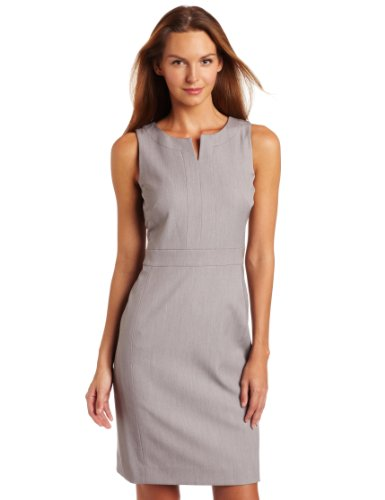 Anne Klein Women's Petite Split Neck Shift Dress, Pale Grey Heather, 12P