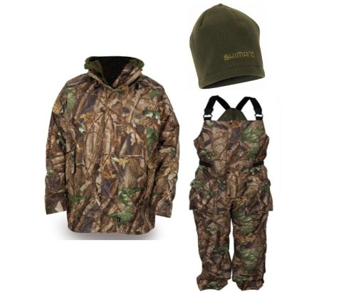 Shimano TRIBAL Winter Jacket, Bib n' Brace & Fleece Hat Fishing XL Extra Large Clothing Offer