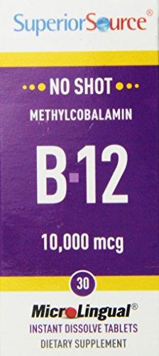 Superior Source No Shot Methylcobalamin Vitamin B12 Tablets, 10,000 Mcg, 30 Count