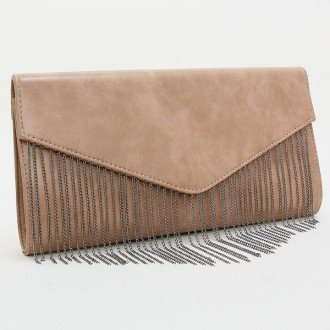"Womens Black and Khaki Polyurethane Fringe Envelope Clutch. Magnetic Closure. Polyurethane. Strap Size : 24"" L Size : 13"" W, 7"" H, 2"" T - 1"