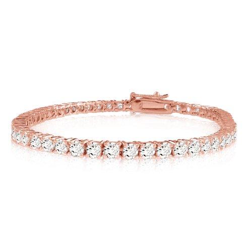"Rose Gold Over Silver 10.08 Ct Round Brilliant Cut 3Mm White Cz Cubic Zirconia 8"" Inch Tennis Bracelet"
