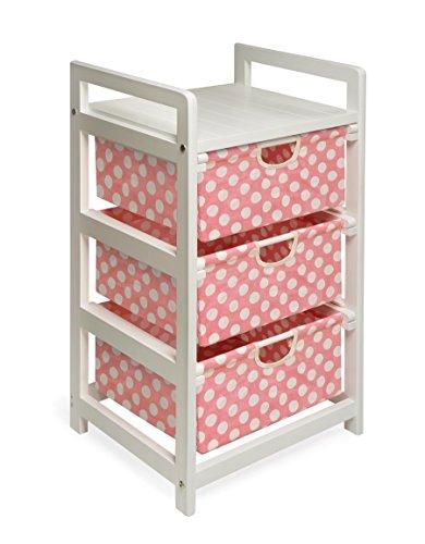 Three Drawer Hamper/Storage Unit White/Pink Polka Dot (3 Drawer Hamper Storage Unit compare prices)