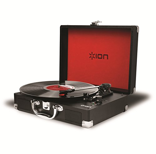 Discover Bargain Ion Audio Vinyl Motion 3-Speed Belt Drive Suitcase Turntable with Built-In Speakers...