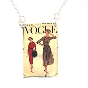 Sour Cherry Vintage Vogue Dress Pattern Necklace Style 3 (18 inch silver plated chain)