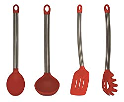 COOKSTYLE SILICON & STEEL COOKING & SERVING LADLE SET OF 4 - RED