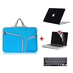 Laptop Sleeve 4-In-1 , Go Crazzy Zipper Briefcase Soft Handbag Sleeve With Matte Rubberized Hard Case With Free Lcd Clear Screen Protector Film Guard + Keyboard Protector Compatible For Macbook Pro 13.3 Inch