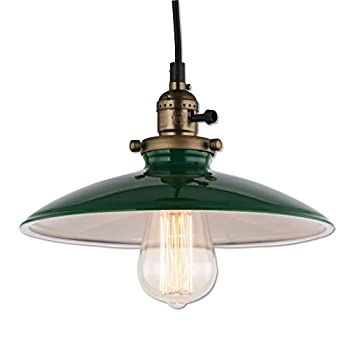 JEMMY HO Metal Warehouse Pendant Lighting Dia 10 Inch Mini Vintage Industrial Barn Pendant Lamp (Green)