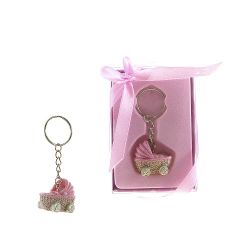 "Lunaura Baby Keepsake - Set of 12 ""Girl"" Baby Stroller Key Chain Favors - Pink - 1"