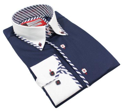 Mens Italian Button Collar Shirt Slim Fit Navy Blue White Smart or Casual Premium Cotton