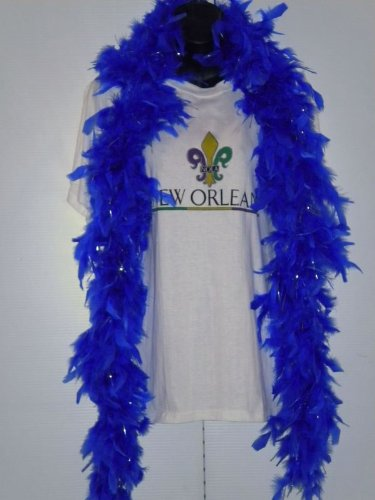 6' Royal Blue Boa with Silver Tinsel (Each)