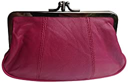 Visnow® 100% Genuine Leather Double-Pocket Change Purse with Clasp (Rose Red)