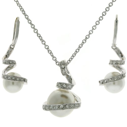 Exquisite Sterling Silver CZ White Pearl Majorca Swirl Pendant Necklace and Earring Jewelry Gift Set Bucasi