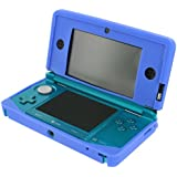 Assecure soft gel silicone cover case for Nintendo 3DS protective bumper case - Blue