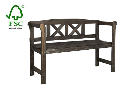 Wooden Garden Bench with a crossed rest, weatherproof glazed in colonial color
