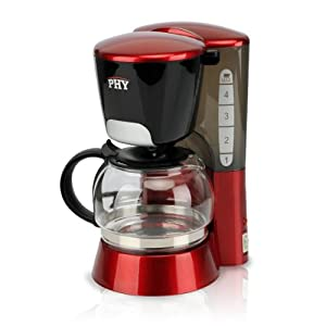 [Buy It Now] PHY 4-Cup/0.6L Switch Espresso Coffee Maker / Coffeemaker with Glass Carafe & Permanent Filter & Semi Transparent Water Tank, Red