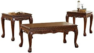 Bernards Deluxe Carved Table, Cherry, 3-Pack