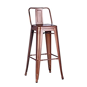 "AC Pacific Modern Industrial Metal Barstool with Bucket Back and 4 Leg Design, 30"" Seat Bar Stools (Set of 2), Vintage Rose Gold Finish"