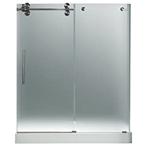 "VIGO VG6041STMT60LWL 60-inch Frameless Shower Door 3/8"" Frosted/Stainless Steel Hardware Left with White Base - Center Drain"