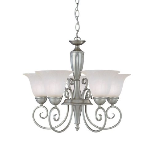 Beautiful The Features Savoy House KP Chandelier with White Marble Shades Pewter Finish