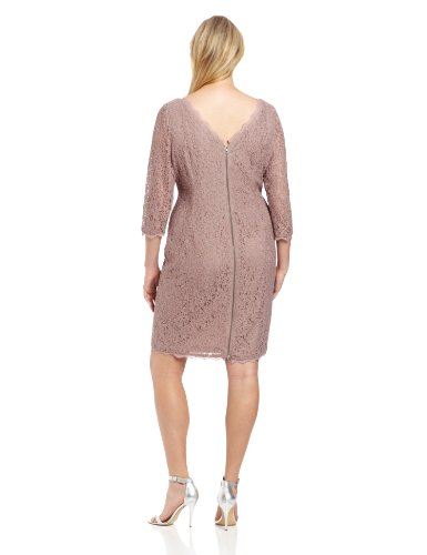 Adrianna Papell Women's Plus-Size Long Sleeve Lace Dress