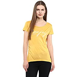 Fritzberg Soft Slim Printed Gold Round Neck Top