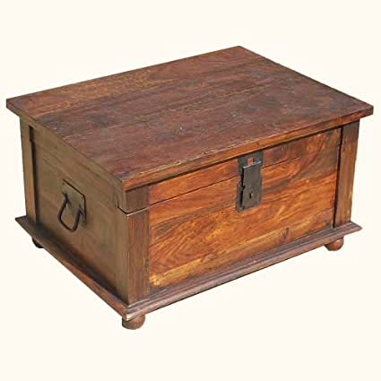 Primitive Rustic Solid Wood 32 Inches Dark Natural Finish Storage Coffee Table Trunk Chest
