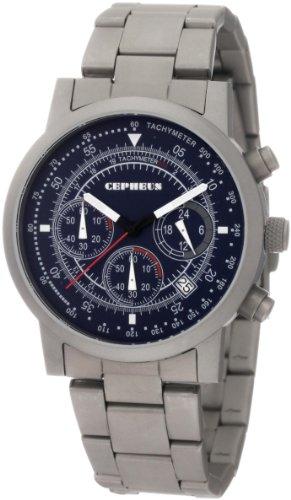 CEPHEUS CP504-131- - Reloj de caballero de cuarzo, correa de acero inoxidable color gris (con cronómetro)