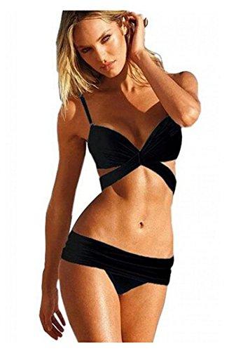 TopOne Women Vintage Sexy Push Up Padded Swimsuit Bikini Trikini Beachwear S Black