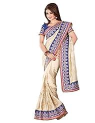 Cream Georgette Weaved Saree In Rani Pink & Royal Blue Saree Border-SR6696