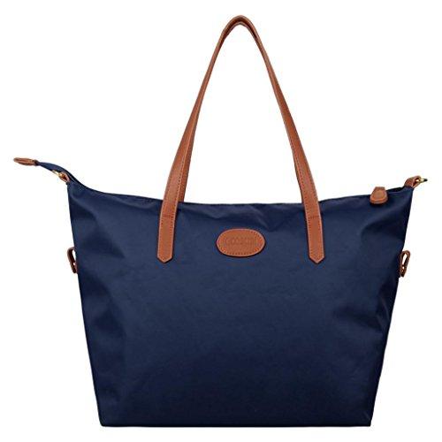 Ecosusi Blue Waterproof Nylon Tote Bag Beach Bag Simplicity Handbag