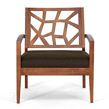 Baxton Studio Jennifer Modern Lounge Chair with Dark Brown Fabric Seat