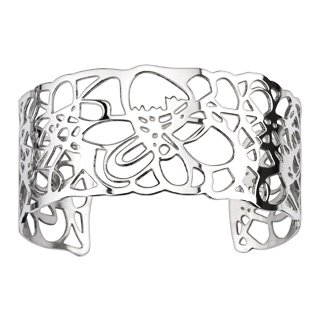 Flower Pattern Cuff Bangle Bracelet