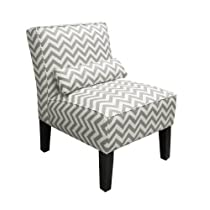 Skyline Furniture Armless Chair in Zig Zag Grey