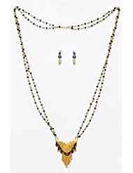 DollsofIndia Black And Golden Bead Gold Plated Mangalsutra With Earrings - Stone And Metal - Black