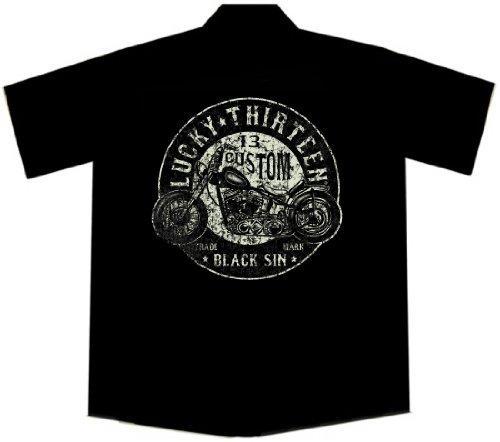 Lucky 13 Custom Motorcycle Biker Work Shirt, Black Sin (M)