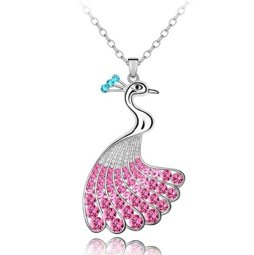 Purplelan-Fashion Jewlery Necklace Studded With Swarovski Element Crystal Stones Peacock 18Inch Necklace 801016