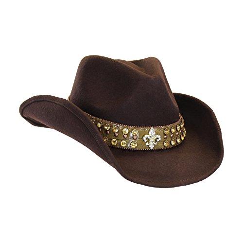 Fleur de lis rhinestone bling brown wool cowgirl hat croc for Crocs fleurs