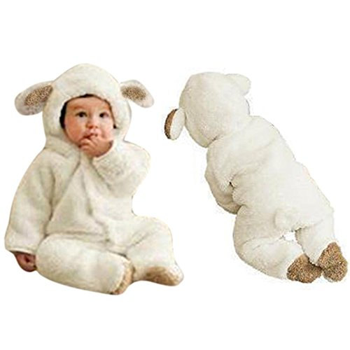 Ecosin Newborn Baby Boys Girls Fleece Winter Rabbit Bear Romper Clothes Snowsuit (6Months, White)