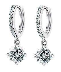 YouBella Jewellery Clear CZ Fancy Party Wear Earrings for Girls and Women (Silver)