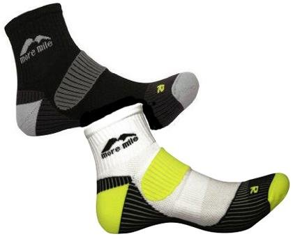 Mens 2 PAIR PACK More Mile cushioned LONDON running sock 1 Black & 1 White