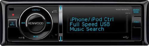 Kenwood KDC-6051U MP3/WMA/AAC/CD-Receiver with Rear AUX/USB Music Inputs and iPod/iPhone Control
