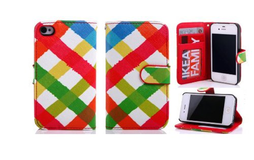 Candywe Colorful Premium Pu Leather Wallet Case Cover With Credit Card Slots For Iphone 4 4S