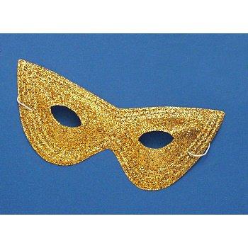 Mardi Gras - Glitter Harlequin Mask - Gold Accessory - 1
