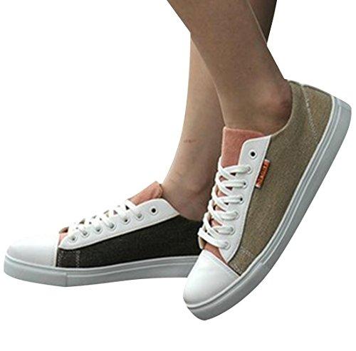 jeansian Moda Casuale Scarpe di Tela Carpe Scarpe da Uomo Sneakers Beige&Brown 9 US SHB040