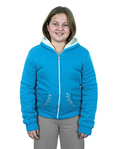 Girl's Zip-up Fleece Hoodie with Sherpa Lining (10, Light Blue) Rugged Cut Off Short
