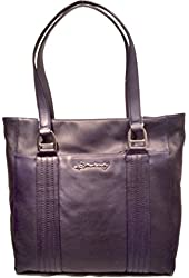 B Makowsky Quilted Leather Tote True Navy