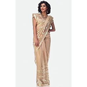 Satya Paul ESW2121|Saree|Dark Beige|Shimmer Net