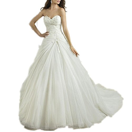 Sweetheart A-line Crystal Lace Wedding Dress Bride Dress Ivory S