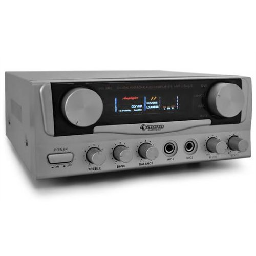 Auna-AMP-2 HiFi Amplifier with 2 Mic Inputs Ideal Karaoke or PA's  &  400W Max Ouput - Silver